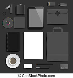 Corporate identity template on dark background. Use layer...