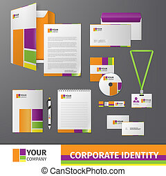 Multicolored geometric business company stationery template for corporate identity and branding set isolated vector illustration