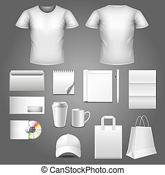 Corporate identity template photo realistic vector set -...