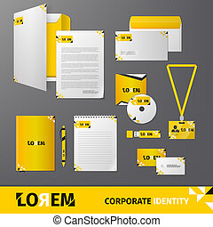 Yellow geometric technology business stationery template for corporate identity and branding set isolated vector illustration