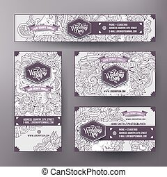 Corporate Identity templates set design with doodles Wedding theme