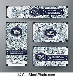 Corporate Identity templates set with doodles cinema theme