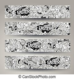 Corporate Identity  templates set with doodles Easter theme