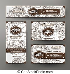 Corporate Identity templates set with doodles Thanksgiving theme