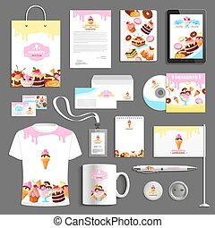 Corporate identity vector items for bakery desserts -...