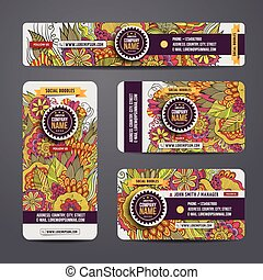Corporate Identity vector templates set with doodles floral...