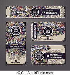 Corporate Identity vector templates doodles photo -...