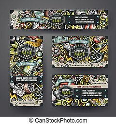 Corporate Identity vector templates set design with doodles hand drawn Electric cars theme