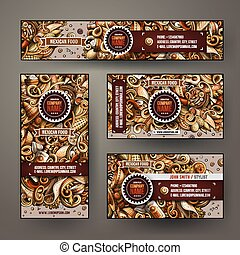 Corporate Identity vector templates set design with doodles hand drawn Mexican food theme