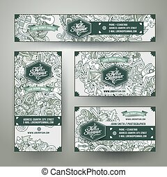 Corporate Identity vector templates set doodles camping theme