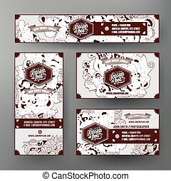 Corporate Identity vector templates set with doodles Russian cuisine