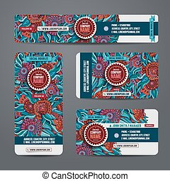 Corporate Identity vector templates set with art floral...