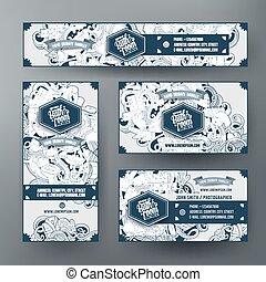 Corporate Identity vector templates set design with doodles Bathroom theme