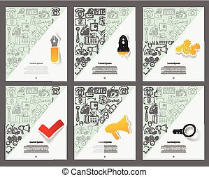 Corporate identity vector templates set with doodles business theme.