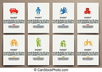 Corporate identity vector templates set with doodles family...