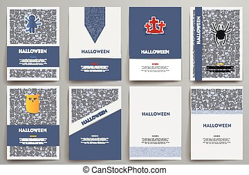 Corporate identity vector templates set with doodles Halloween theme