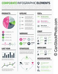 Corporate infographic resume elements template vector