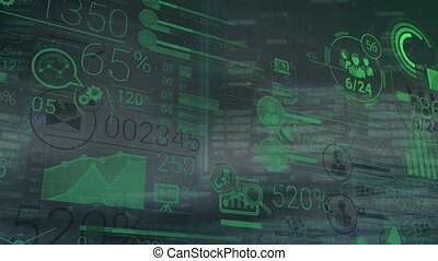 A large amount of data and figures on the background of office buildings. Abstract diagrams and graphs change rapidly. All data is green and moves from left to right.