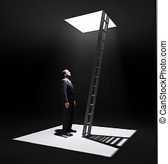 corporate Ladder - A man standing in a pit looking up to the...