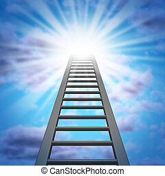 Corporate Ladder and a climb to success with a sky and a...