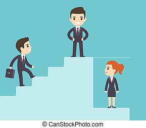 Corporate ladder and glass ceiling - Cartoon business men...
