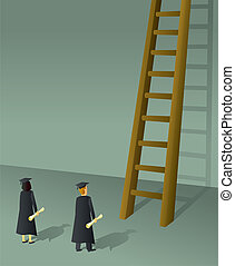 Corporate Ladder Grads - College Graduates getting ready to ...