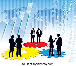 Corporate machinery - Businesspeople are standing on a large...