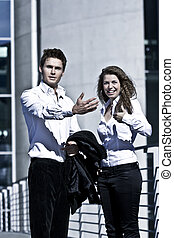 Corporate Man And Woman Outdoor