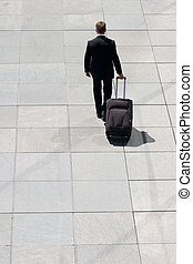 Corporate Man Leaving With Luggage On Pavement