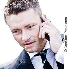 Corporate Man With Cell-Phone Closeup