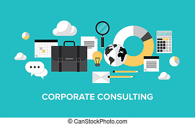 Flat design style modern vector illustration concept of corporate consulting, business management, financial planning, office organization development, professional support and service. Isolate on stylish color background.