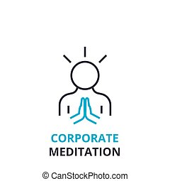 Corporate meditation concept , outline icon, linear sign, thin line pictogram, logo, flat vector, illustration