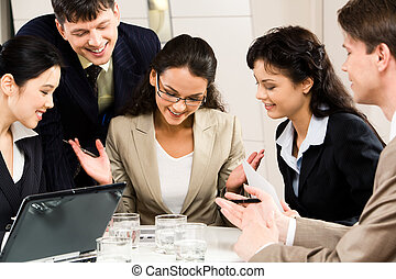 Corporate meeting - Image of successful businesswoman with ...