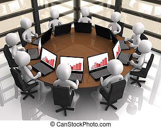 Corporate Meeting - 3d people having a corporate meeting in...