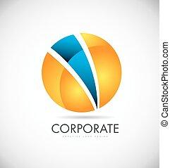 Corporate orange blue sphere logo icon design