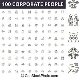 Corporate people line icons, signs, vector set, outline illustration concept