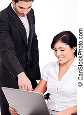 Corporate people working with laptop