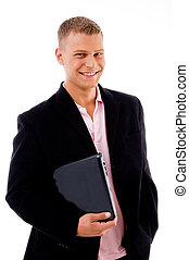 corporate - pleased businessman holding laptop - pleased...