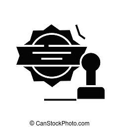Corporate seal black icon, concept illustration, vector flat symbol, glyph sign.