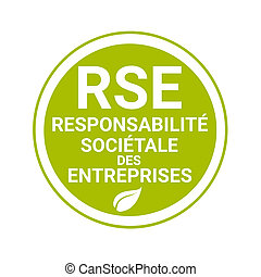 Corporate social responsibility badge called RSE,...