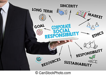 Corporate Social Responsibility Concept. Man holding a tablet computer