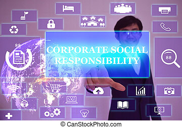 CORPORATE SOCIAL RESPONSIBILITY concept  presented by  businessman touching on  virtual  screen ,image element furnished by NASA