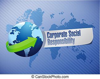 Corporate social responsibility globe sign illustration ...