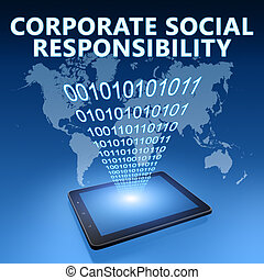 Corporate Social Responsibility illustration with tablet ...