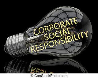 Corporate Social Responsibility - lightbulb on black...
