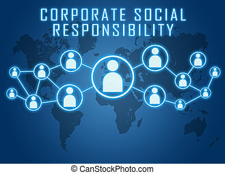 Corporate Social Responsibility text concept on blue ...