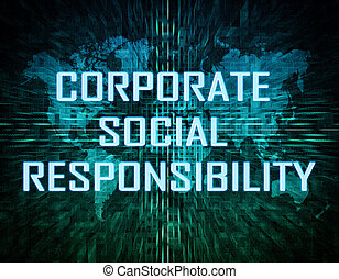 Corporate Social Responsibility text concept on green ...