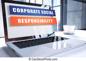 Corporate Social Responsibility text on modern laptop screen...