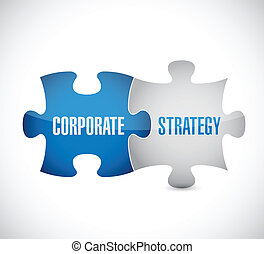 corporate strategy puzzle pieces illustration design over a...