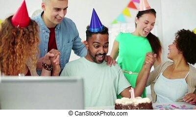 corporate team celebrating one year anniversary - corporate,...